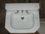 Vintage Cut Corner White Vitreous China Shelf Back Sink