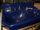 Vintage Navy Blue Porcelain over Cast Iron Standard Bathroom Dental Sink