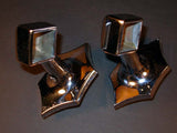 Vintage Pairs of Chrome Art Deco Towel Bar Ends