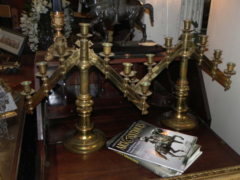 Vintage Brass Pair of Adjustable Candle Sticks