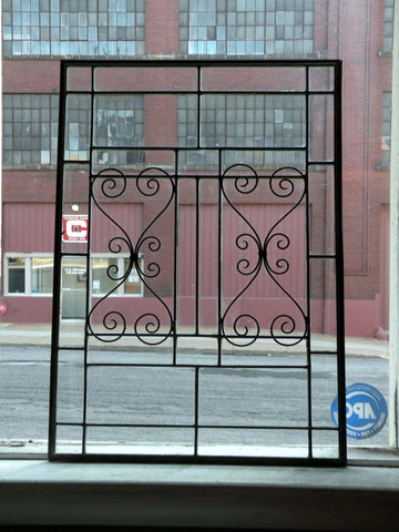 2 Antique Leaded Glass Windows with Decorative Zinc Scrolls