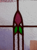 Pair of Antique Stained Glass Windows with Stylized Tulips