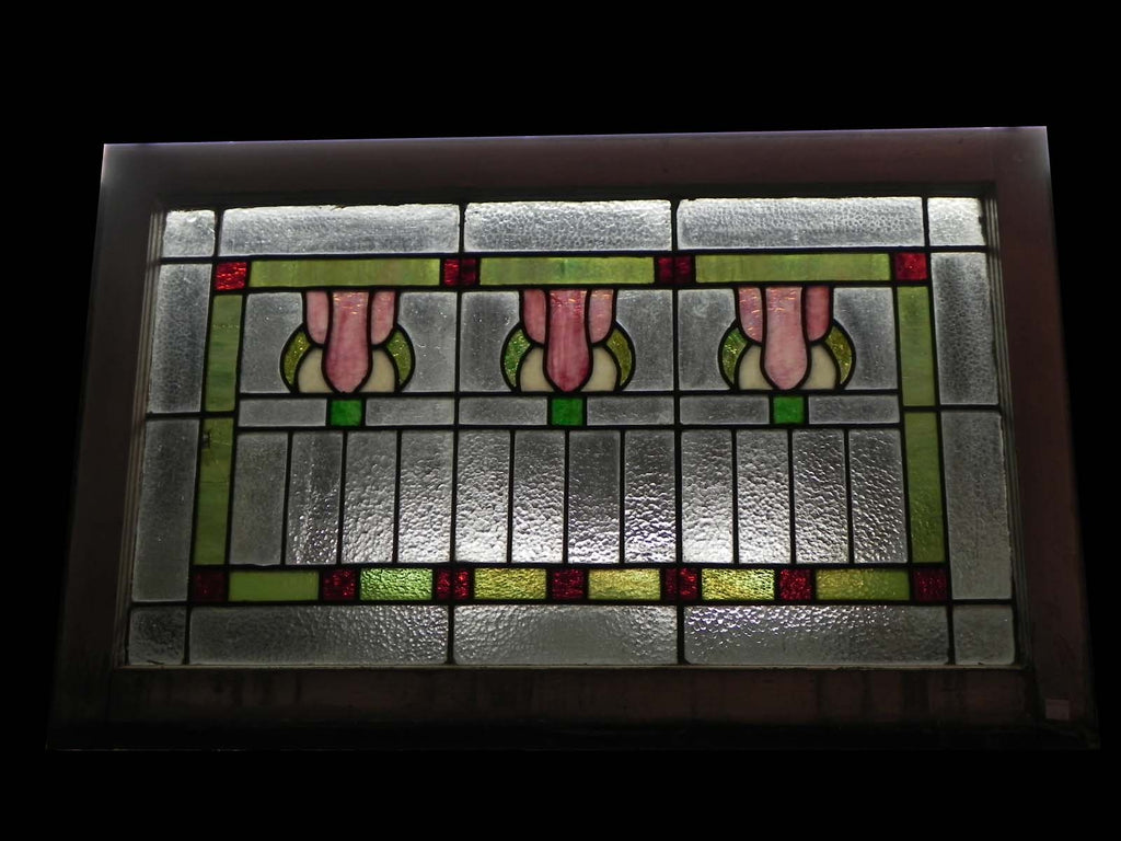 Wood Framed Antique Stained Glass Window With 3 Art Deco