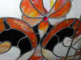 "Large Vintage ""Fleur de Lis"" Stained Glass Panel by Phoenix Glass"