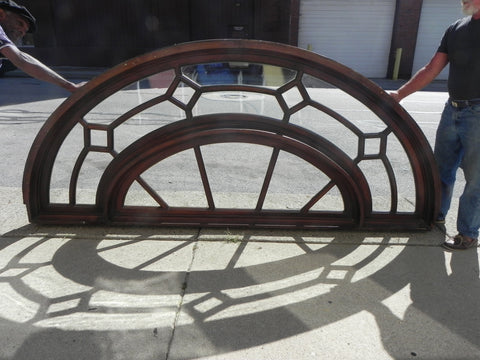 Very Large Beautiful Arched Transom Window in Oak