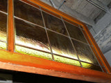 "Vintage Arts & Crafts 60"" Wide Stained Glass Framed Window"