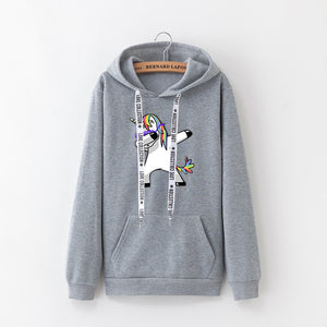 2019 winter new Harajuku women hoodies Pop print Unicorn casual loose sweatshirt women's coat jumper hooded warm plus velvet top
