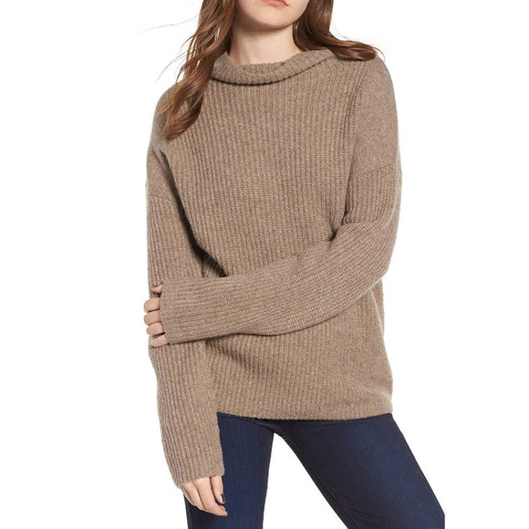 Womens Sweaters 2019 Winter Tops Fashion Women Winter Warm Knitted Long Sleeve Solid Top Sweater Blouse
