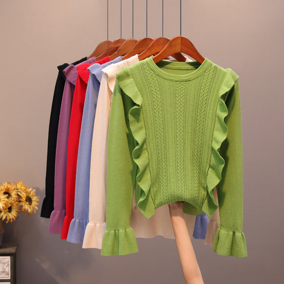 2019 Autumn Ruffles Sweater Women Sweet Flare Sleeve Slim winter sweater pullover O neck casual female jumper knitwear tops