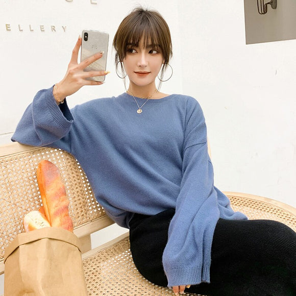 Sweater women's 2019 autumn and winter new solid color sweater long-sleeved O-neck fashion loose knit bottoming blouse