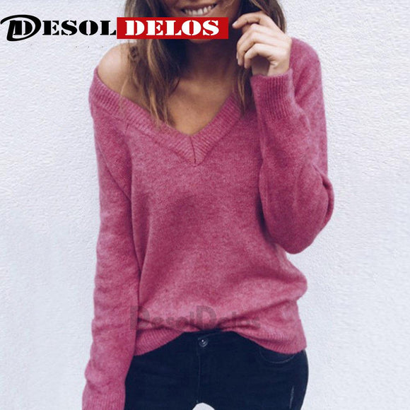 2019 Autumn Winter Fashion Women's Sweater Casual Knitted Sweater Women  V Neck Long Sleeve Pullovers Loose Solid Coat