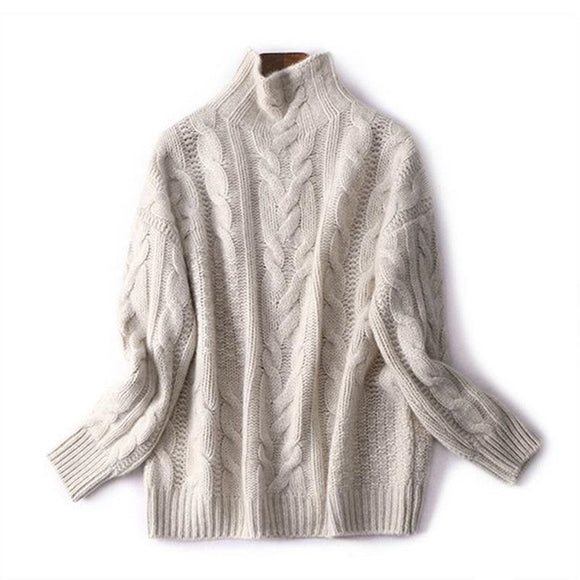 2019 autumn and winter new half-high neck pullover sweater female thick loose twisted knit pullover women