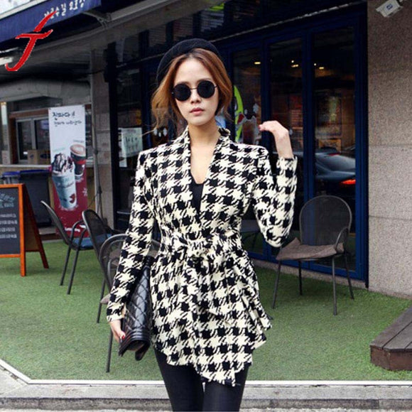 JECKSION 2016 Korean Summer Style Belt Womens Jacket Casaco Feminino Chaquetas Mujer Houndstooth Pattern Thin Sweaters