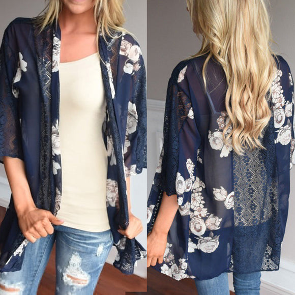 Women Floral Print Beach Chiffon Loose Shawl Kimono Cardigan Top Cover Blouse