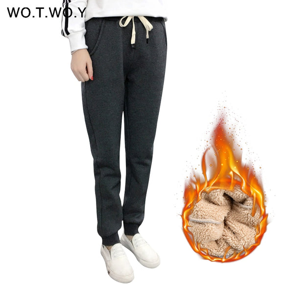 WOTWOY S-3XL Thick Lambswool Winter Pants Women Casual Warm Winter Trousers 2017 Plus Size Women Harem Pants Fleece High Wasit