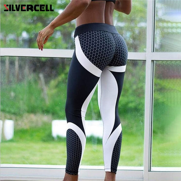 New Mesh Pattern Print Leggings fitness Leggings For Women Sporting Workout Leggins Elastic Trousers Slim Black White Pants