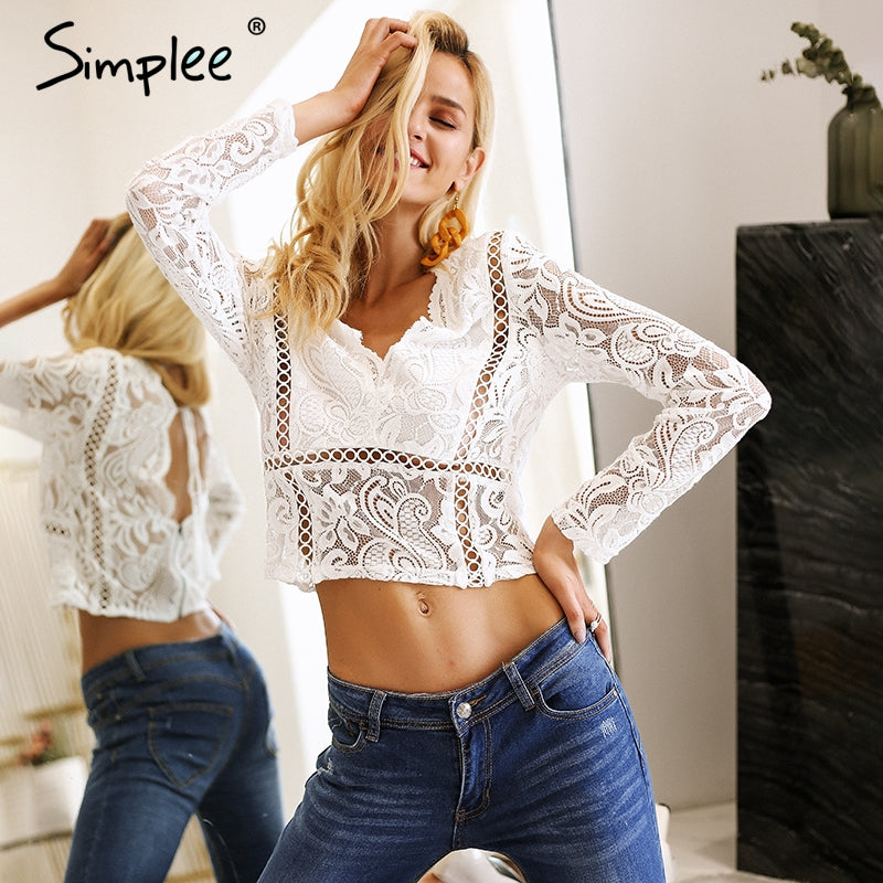 d49a40933517e7 Simplee Long sleeve white lace top women Sexy hollow out crop top female  Backless summer 2018 ...