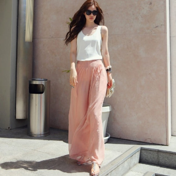 Fashion 2018 Women Pink Black Wide Leg Pants Vintage Casual Loose Elastic Waist Trousers Chiffon Solid Long Pants Oversized
