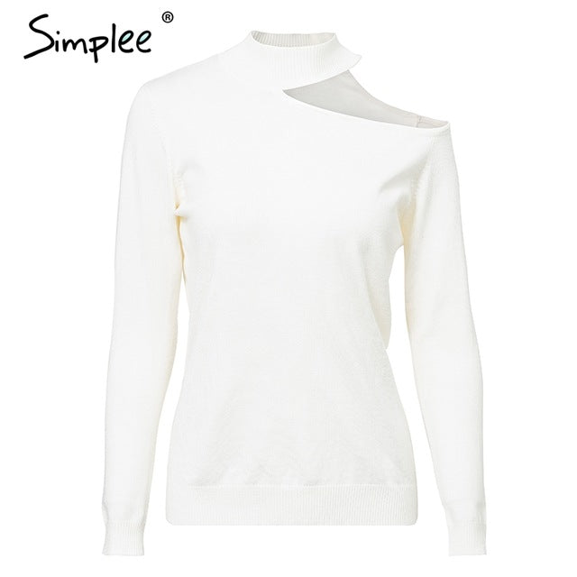 ... Simplee Sexy off shoulder knitted sweater Women elegant solid skinny  slim pullover and sweater 2018 Autumn ... 66dbf77af