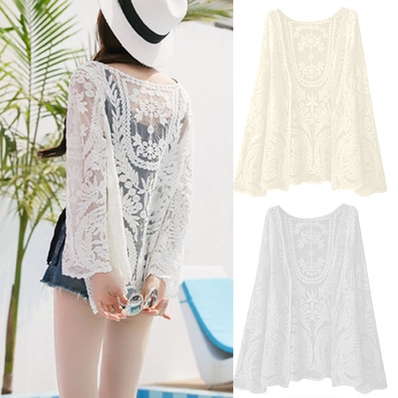 Womens  Ladies Casual Long Sleeve Lace Ladies Tops Coat Smock