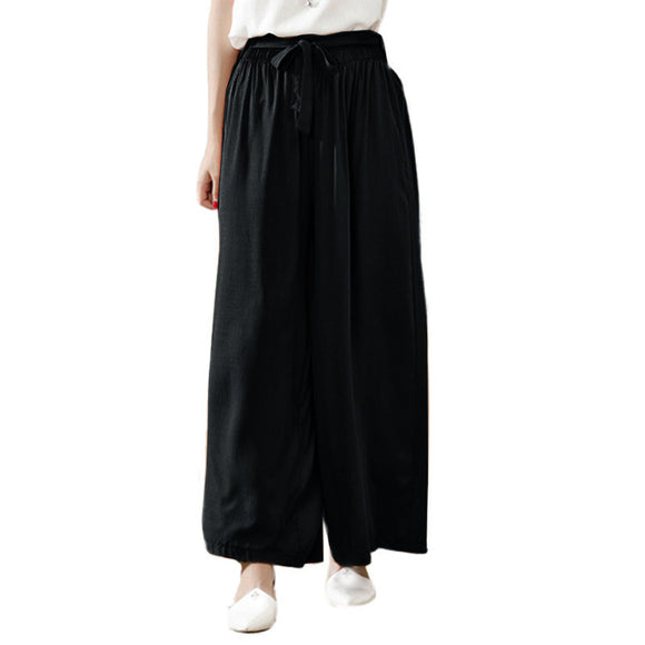 Women's Wide Leg  Elastic Waist Trousers, Cotton Wide Leg Long Pants