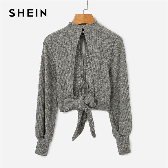 SHEIN Grey Highstreet Open Back Knot Detail Crop Marled Knit Long Sleeve Solid Jumper 2018 Autumn Casual Women Pullovers Sweater