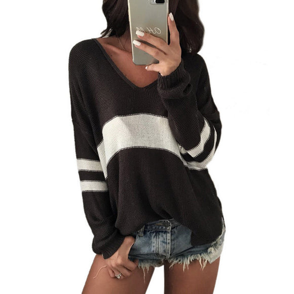 Casual Front Short And Back Long V-Neck Striped Sweater, Soft Knitted Pullover Sweater For Women