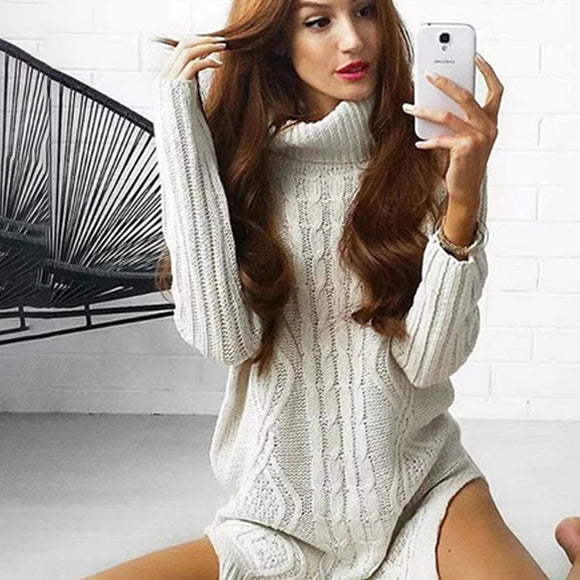 Conmoto White Long Turleneck Sweater Computer Knitted Full Sleeve Sweater Autumn Winter Pullover Solid Split Jumper