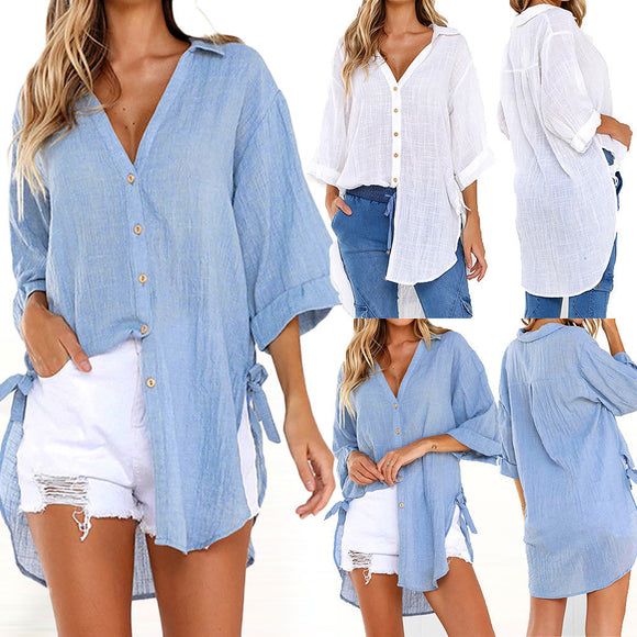Womens Loose Button Long Shirt Dress Cotton Ladies Casual Tops T-Shirt Blouse
