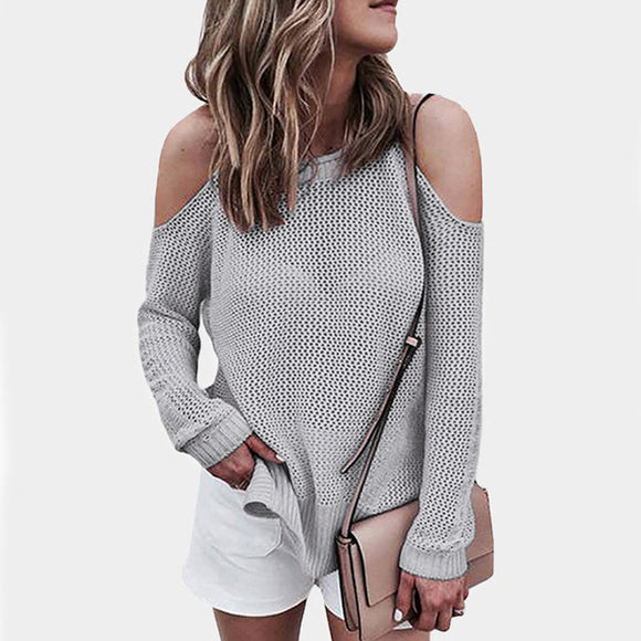Conmoto Hollow Out Cold Shoulder Regular Length Sweater Solid White High Street Fashion Sweater Long Sleeve Pullover Jumper