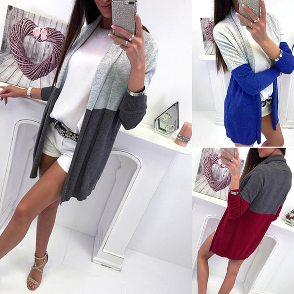 Women Long Sleeve Spling Color Open Front Cardigan Blouse Tops