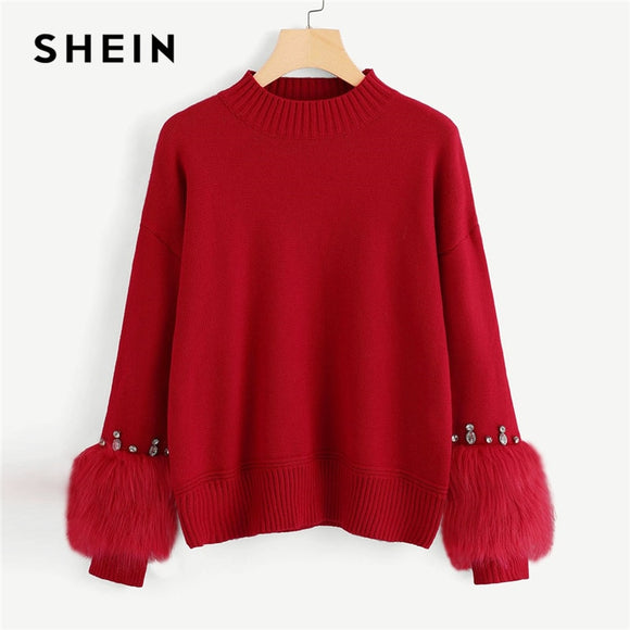 SHEIN Red Highstreet Elegant Faux Fur Cuff Rhinestone Embellished O-Neck Solid Sweater Autumn Casual Women Pullover Sweaters