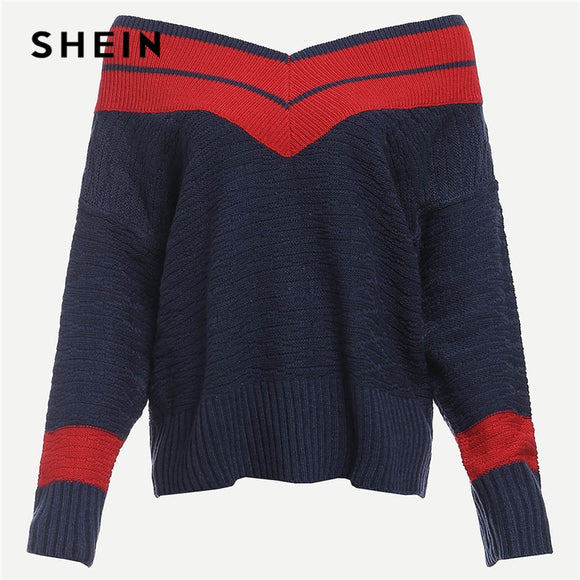 SHEIN Navy Preppy Highstreet Two Tone Chevron Pattern Colorblock Jumper 2018 Autumn Campus Women Pullovers Sweaters