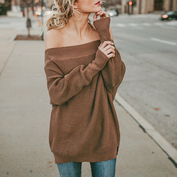 Conmoto Solid Split Off Shoulder Sweater Women Sexy Feminino Casual Long Sweaters Pullovers Autumn Winter 2018 Jumper