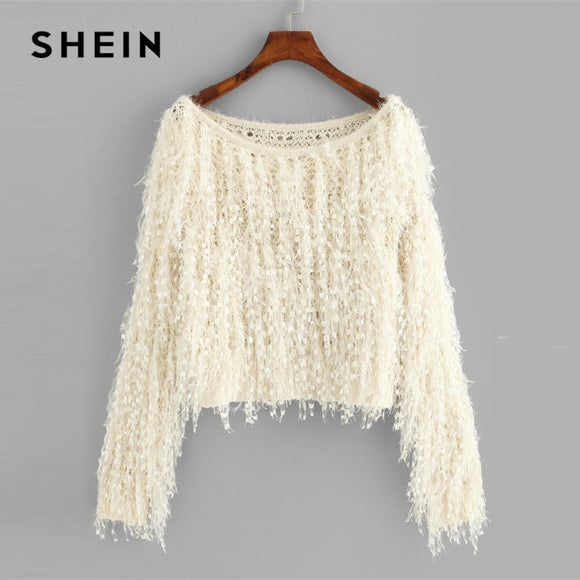 SHEIN Apricot Loose Knit Fuzzy Fringe Sweater Casual Elegant Boat Neck Long Sleeve Crop Pullovers Women Plain Autumn Sweaters