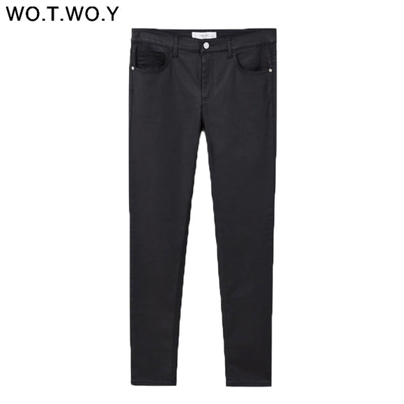WOTWOY Skinny High Waist Pants Women 2018 Causal Black Trousers Women Summer Pencil Pants Cotton Stretch Pantalon Femme Capris