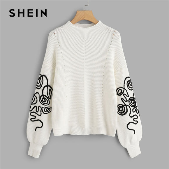 SHEIN White Bishop Sleeve Eyelet Detail Jumper Elegant Casual Round Neck Long Sleeve Sweater Women Autumn Pullovers Sweaters