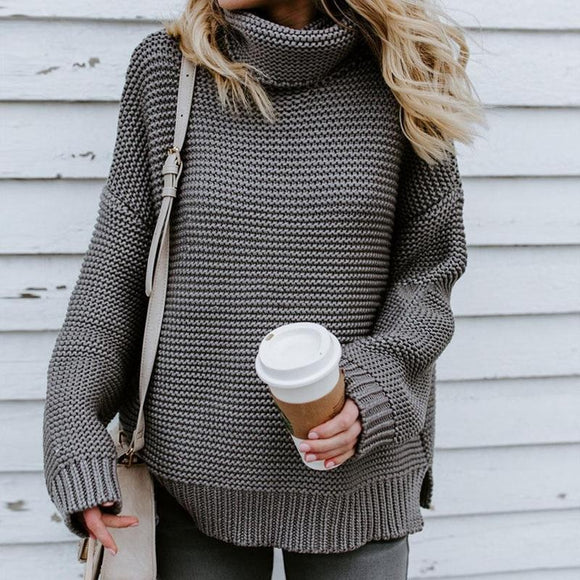 Autumn Winter New Fashion Women Casual Solid Color Sweaters Ladies Turtleneck Knitted Pullovers Coat Loose Sweater Clothing Fit Sup