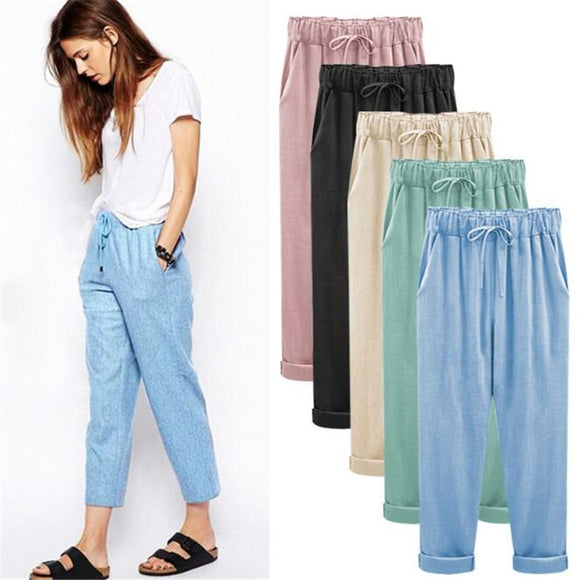 VISNXGI New Women Casual Leggings Autumn Big Size Long Trousers Solid Elastic Waist Cotton Linen Pants Ankle Length Haren Pants