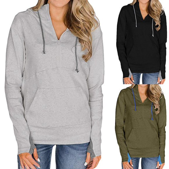 Womens Autumn Long Sleeve Hoodie Sweatshirt Pockets Hooded Pullover Tops Blouse