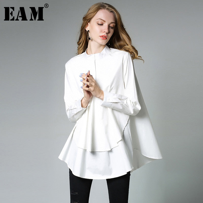 0e4edb73d0  EAM  2019 New Spring Stand Collar Long Sleeve Solid Color Black White  Asymmetry Loose ...