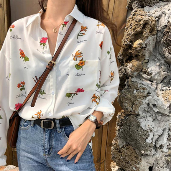 Loose Retro Style Early Flower Print Shirt Women's Shirts Clothes Kawaii Ulzzang Vintage Female Punk Harajuku Tunic For Women