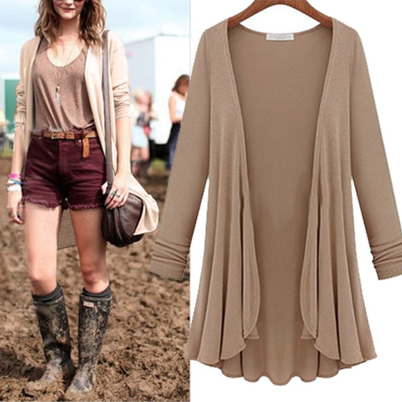 2019 NEW Women Fashion Cotton Top Thin Blouse Long Sleeve Summer Cardigan Sweater Coat Big Size Flounce Plus Size