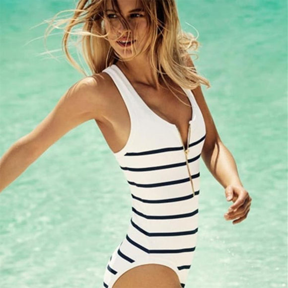 Women's Black & White Striped One-Piece Swimsuit with Front Zipper High Cut Swimwear