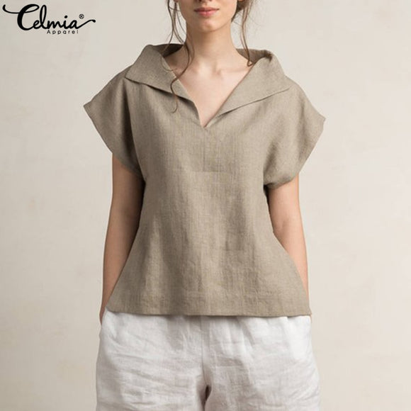 Celmia Women Vintage Linen Tops Plus Size Blouses 2019 Summer V Neck Short Sleeve Shirts Casual Loose Female Blusas Femininas