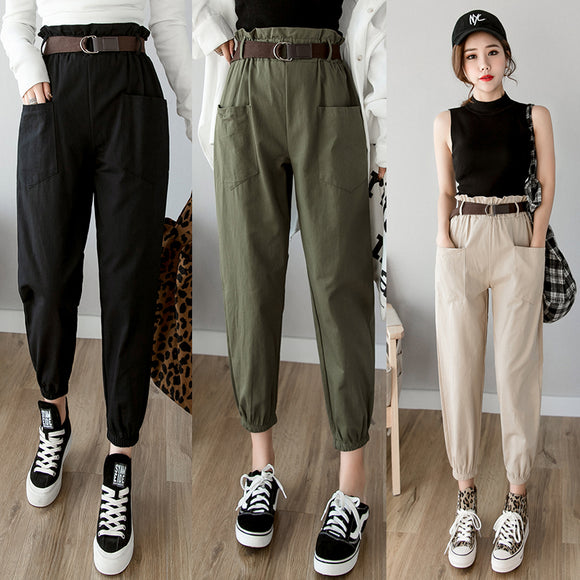 Women Pants 2019 high waist loose pencil trousers casual cargo pants streetwear