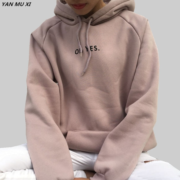 OH YES New Fashion Corduroy Long sleeves Letter Harajuku Print  Light pink Pullovers Tops O-neck Women's Hooded sweatshirt tops