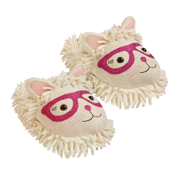 Fuzzy Friends Sparkly Slippers Cat with Glasses