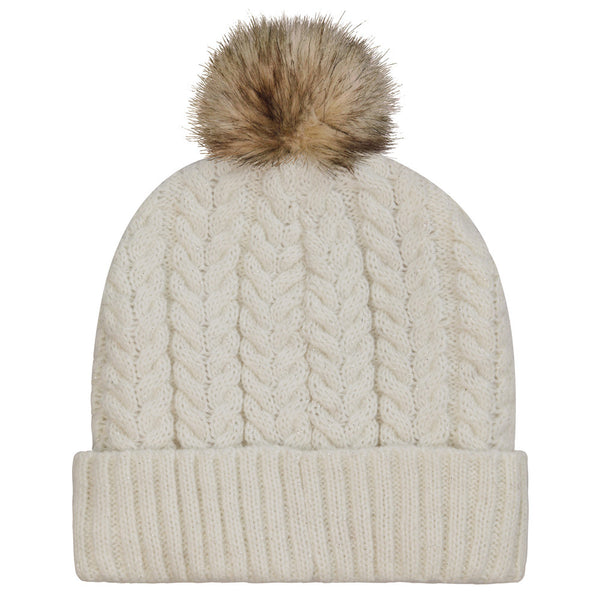 Cream Knitted Heated Wooly Hat