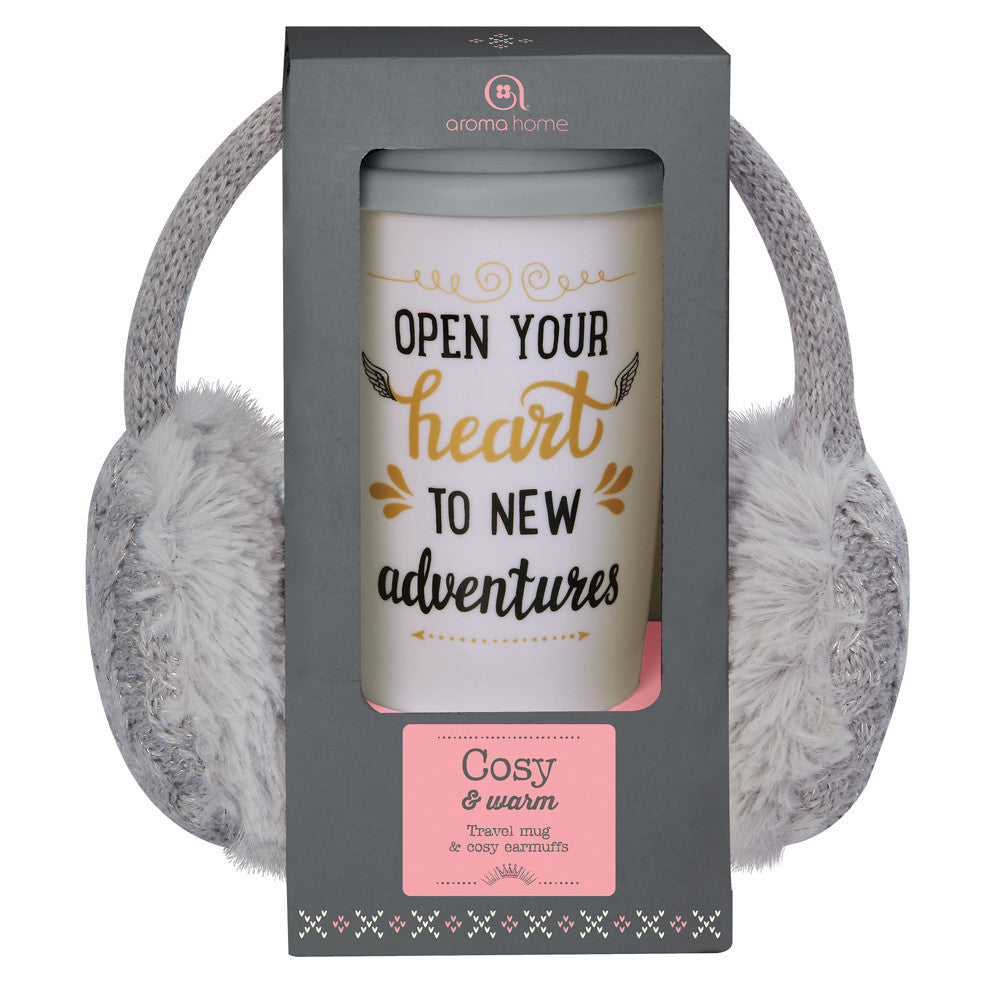 Grey Knitted Ear Muffs and Travel Mug Gift Set